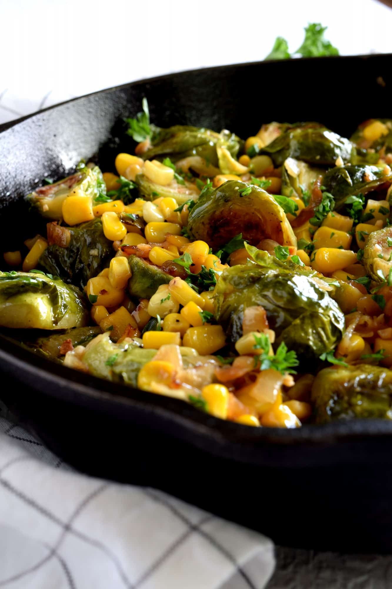 Spicy Pan Seared Brussel Sprouts With Corn Amp Caramelized