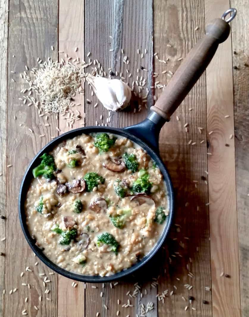 Cheesy Mushroom & Broccoli Brown Rice Skillet