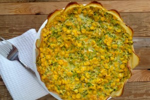 Zucchini & Corn Quiche With Potato Crust