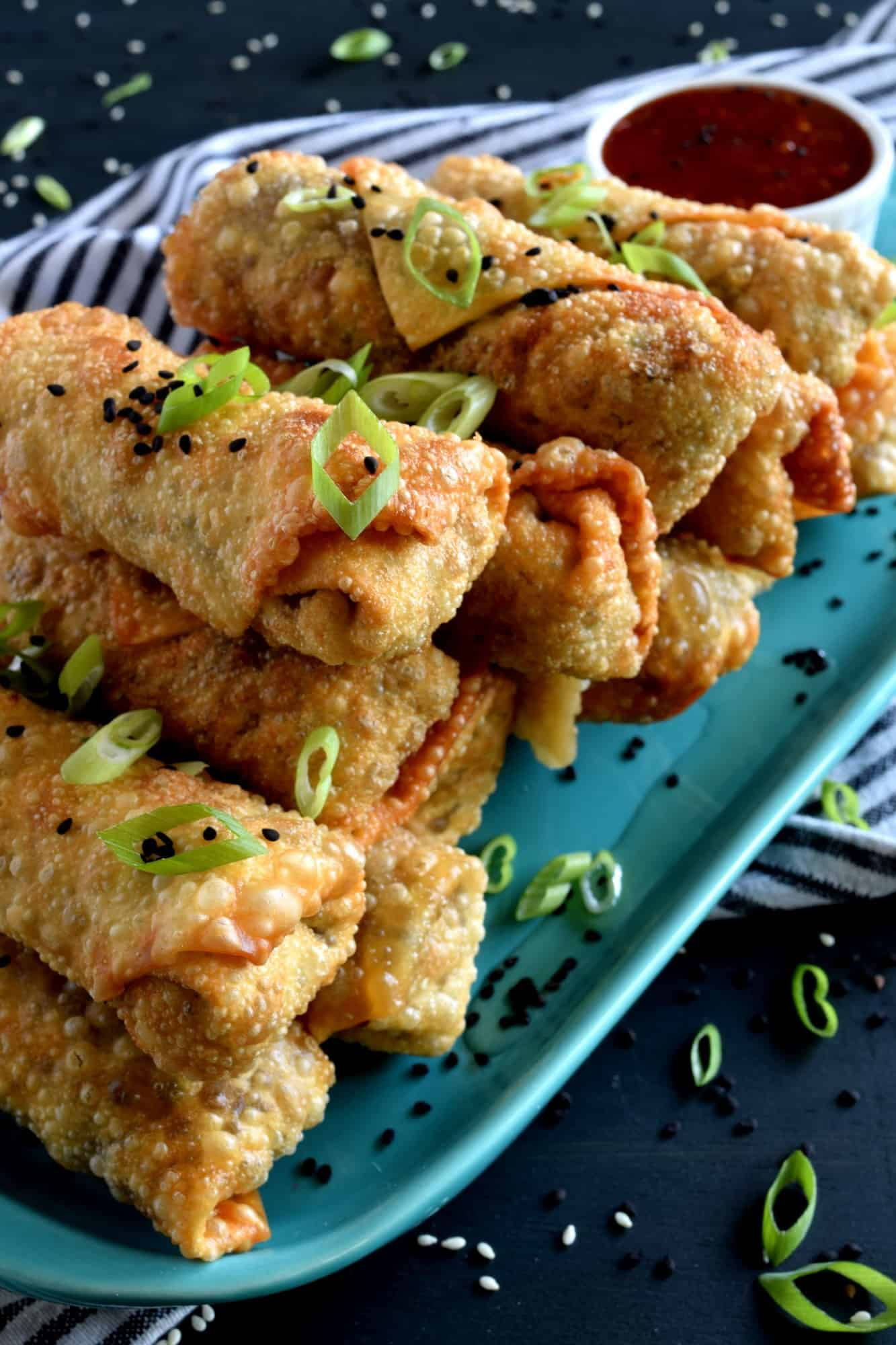 Vegetarian Spring Rolls With Chinese Sweet And Sour Dipping Sauce