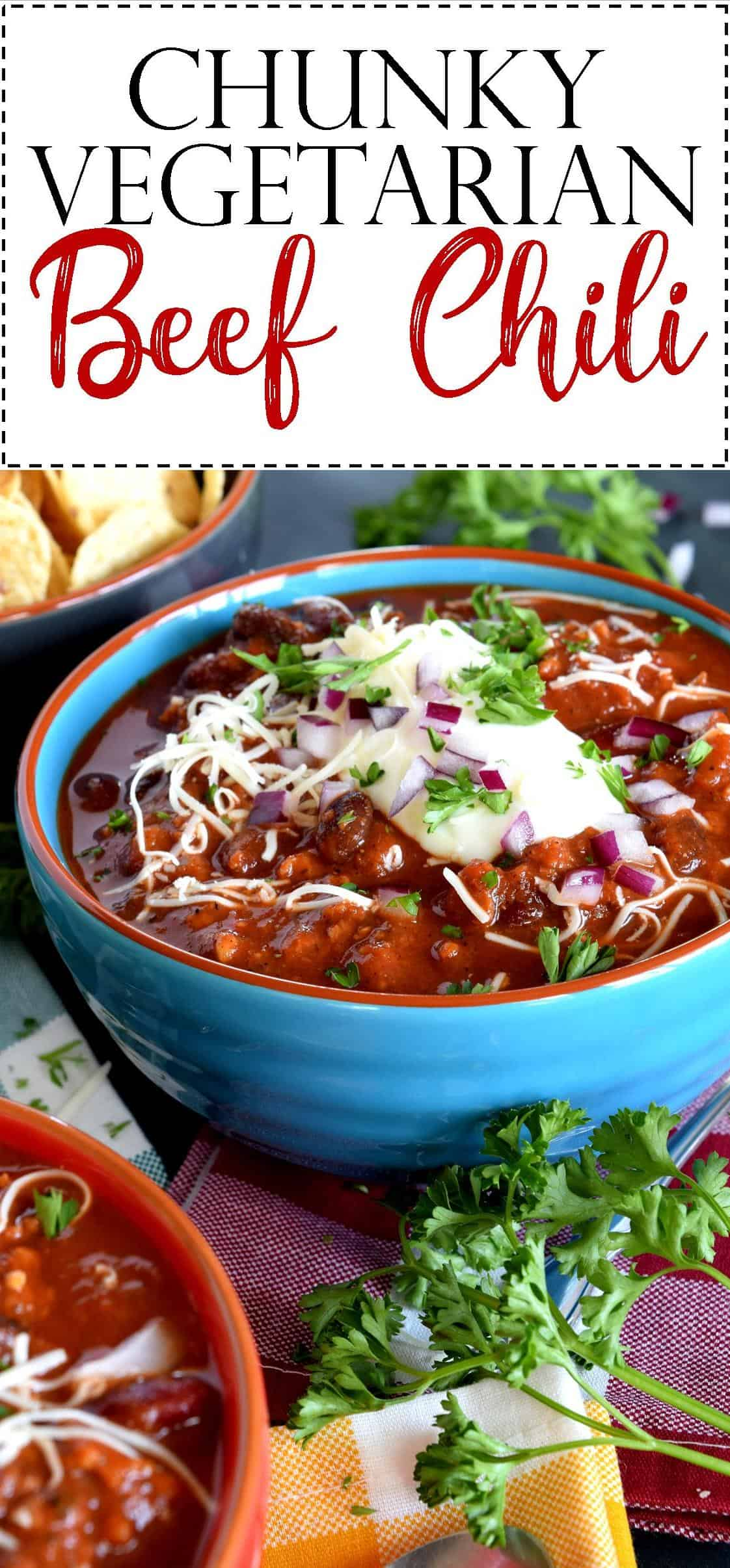 Chunky vegetarian beef chili lord byrons kitchen chunky vegetarian beef chili is the ultimate in vegetarian chili options loaded with kidney and black beans big pieces of tomato and textured vegetable forumfinder Image collections