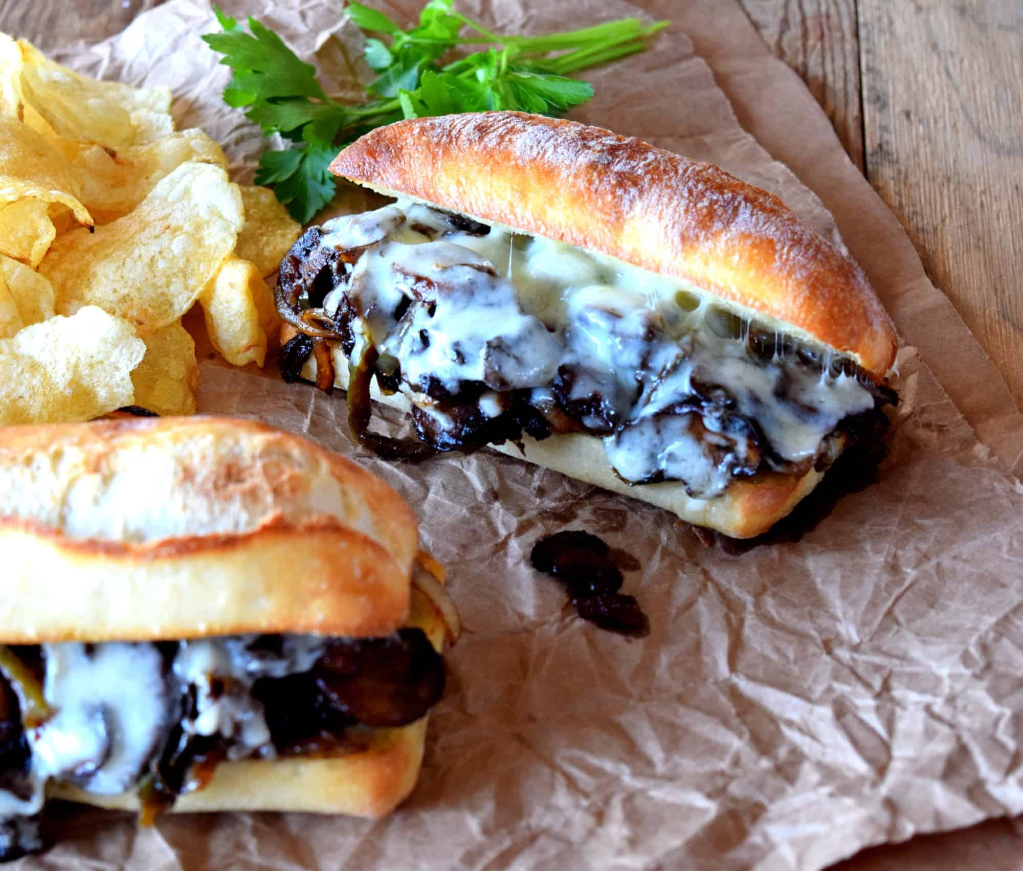 Philly Sautéed Mushroom Cheesesteak Sandwich