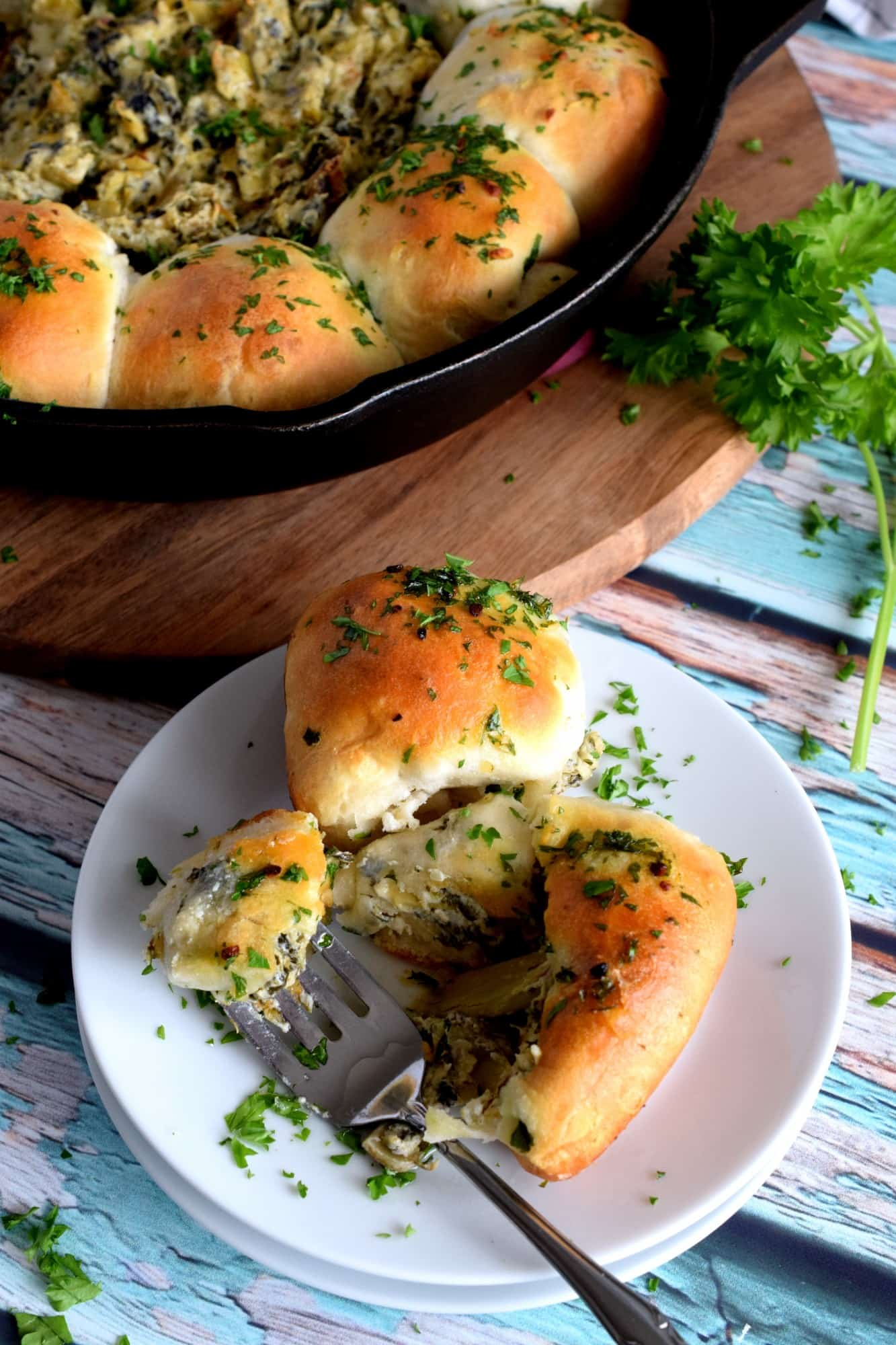 Spinach And Artichoke Skillet Biscuit Bombs