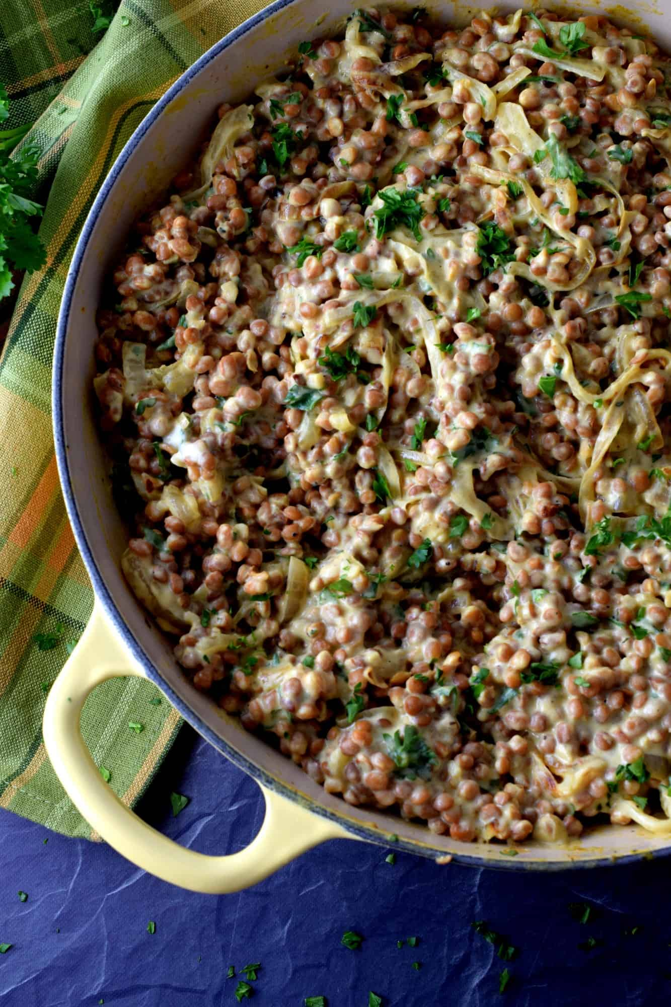 Dijon Spiced Creamy Lentils And Caramelized Onions