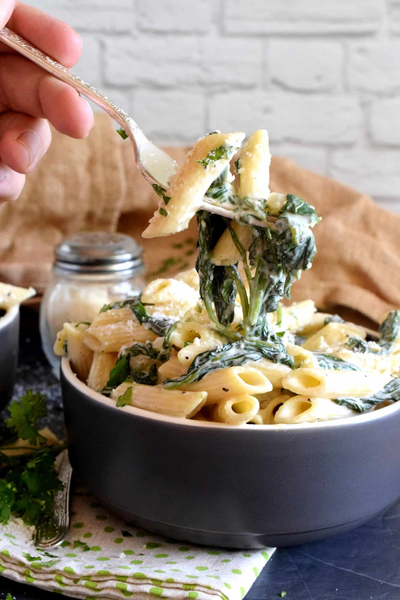 Parmesan and Spinach Penne Pasta - Lord Byron's Kitchen
