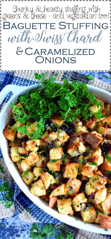 Baguette Stuffing With Swiss Chard And Caramelized Onions