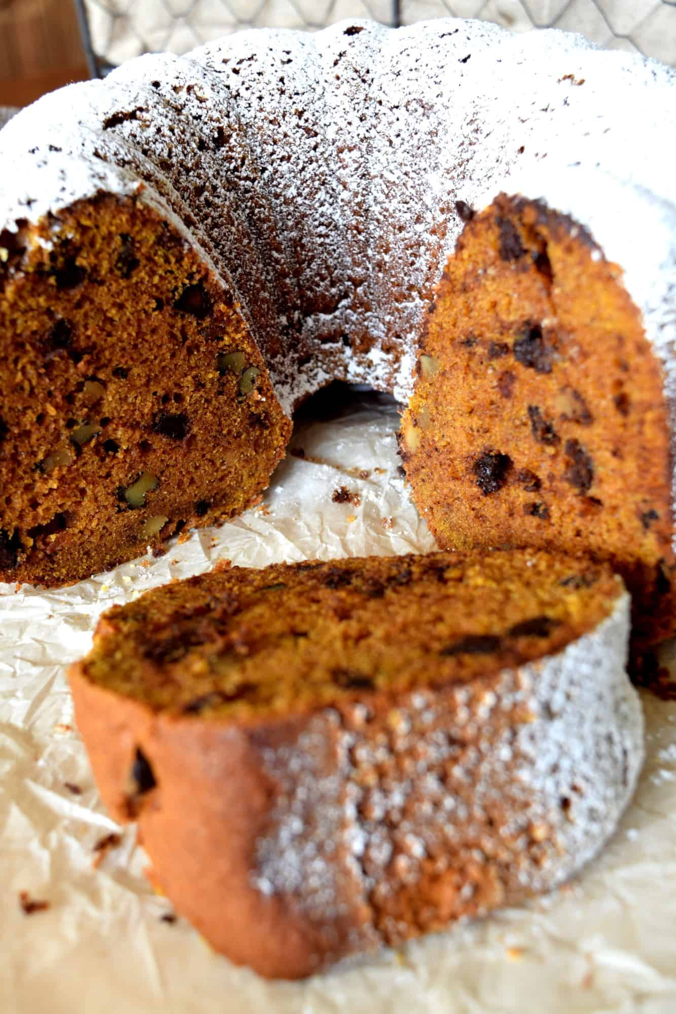 Pumpkin Spice Walnut Chocolate Bundt