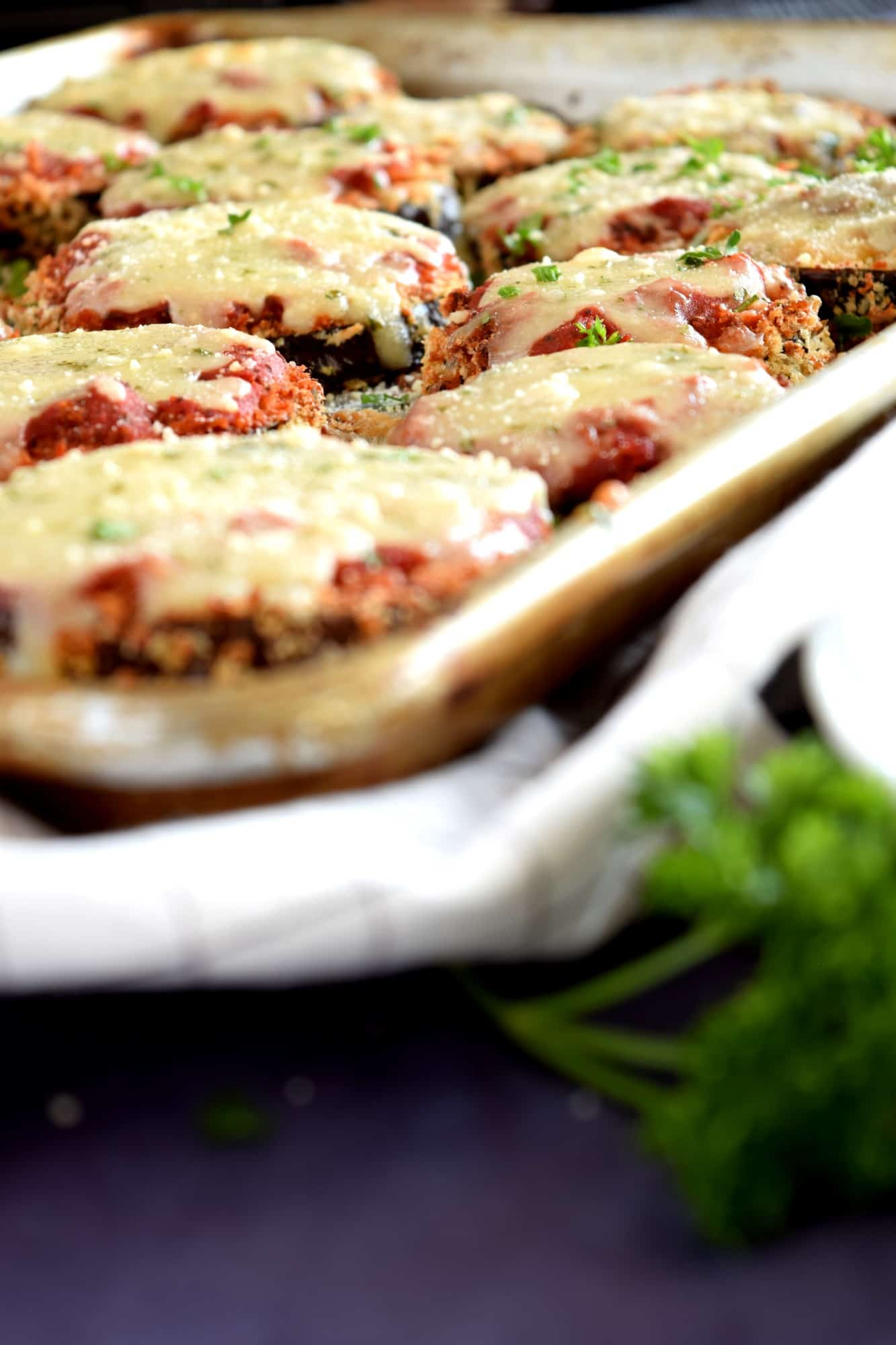 Sheet pan eggplant parmesan lord byrons kitchen you cant see it in the pictures but i was able to get two full sheet pans full of individually sliced eggplant parmesan to serve the dish forumfinder Gallery