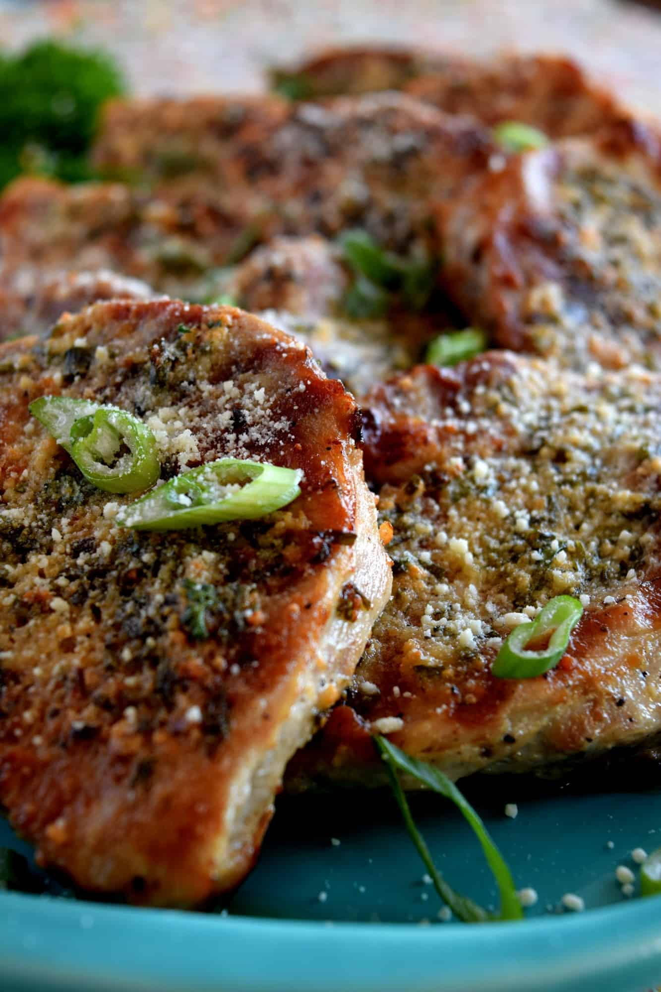 Garlicky butter chive parmesan pork chops lord byrons kitchen the grilling portion of this dish is optional i tend to like flat cuts of meat like steak and pork to have grill marks ccuart Choice Image