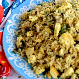 Scrambled Tofu And Kale Fried Rice