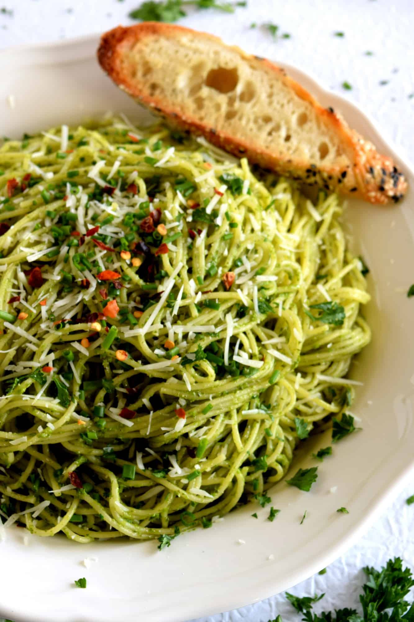 Scallion And Basil Pesto Spaghetti