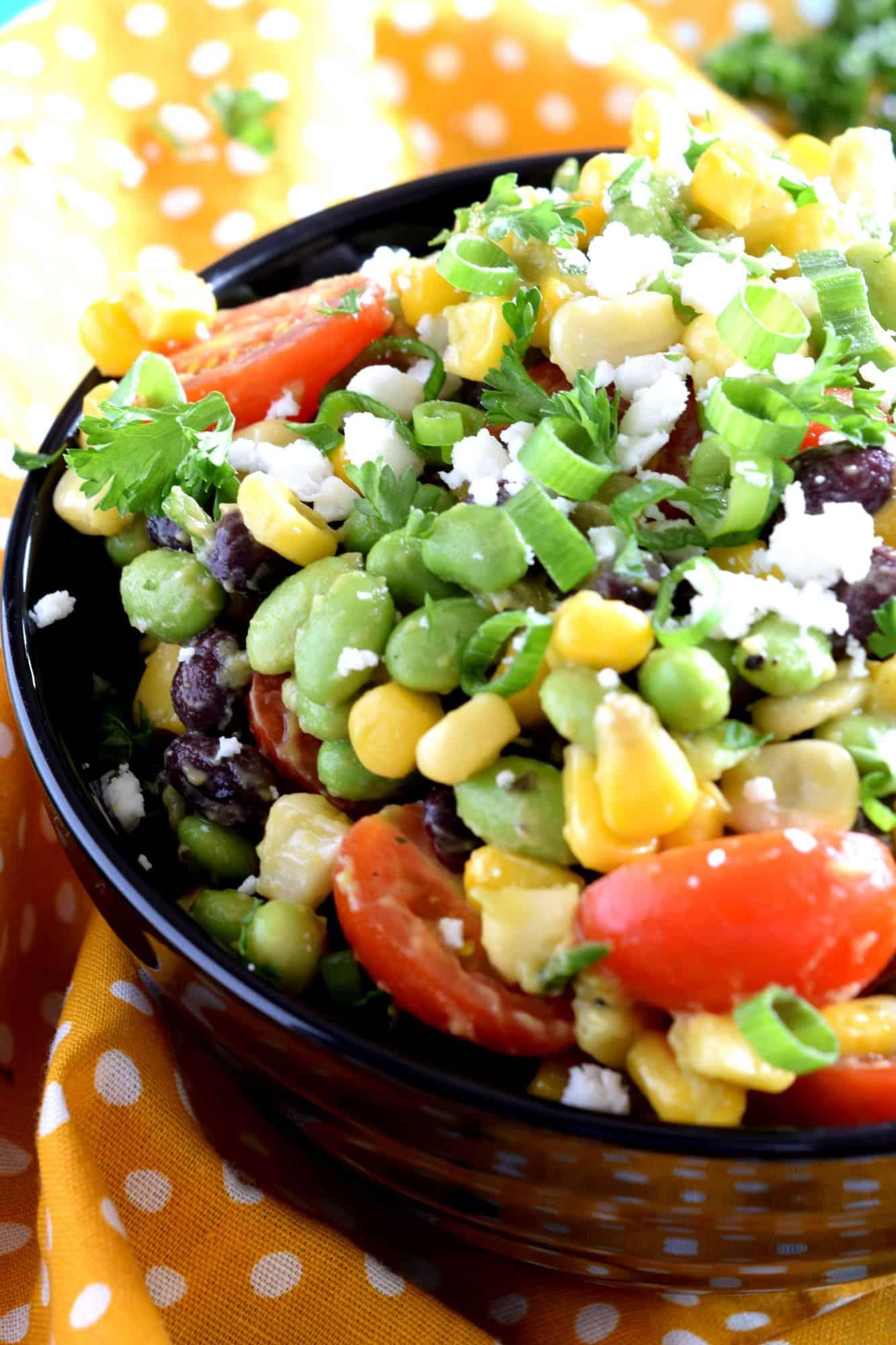 Edamame Black Bean Tomato Corn Guacamole Salad