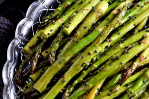 Honey Soy Asparagus With Black Sesame Seeds