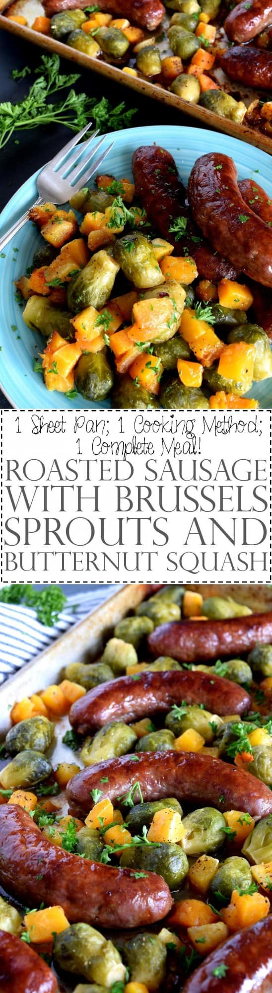 Roasted Sausage with Brussels Sprouts and Butternut Squash