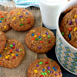 White Chocolate Oatmeal Cookies With Candy Coated Sunflower Seeds