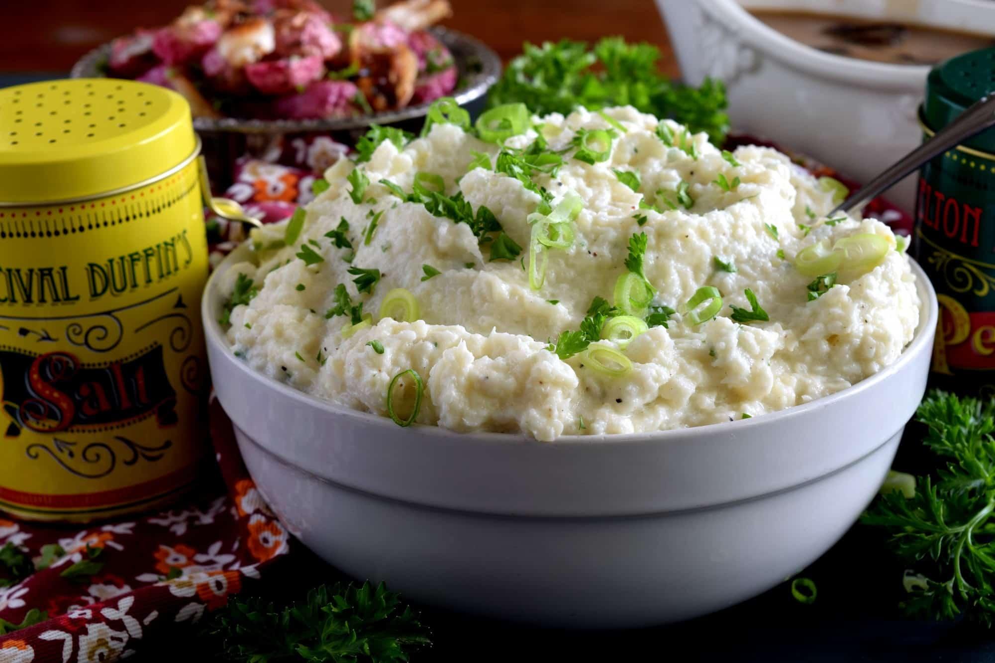 mashed cauliflower with cream cheese