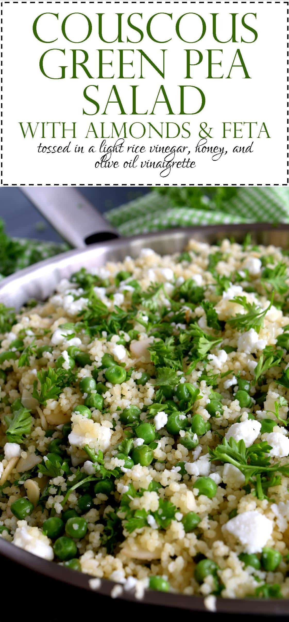 Couscous Green Pea Salad with Almonds and Feta