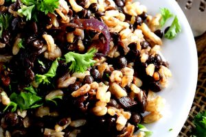 Mujadarra – Black Lentils With Brown Rice And Caramelized Red Onions
