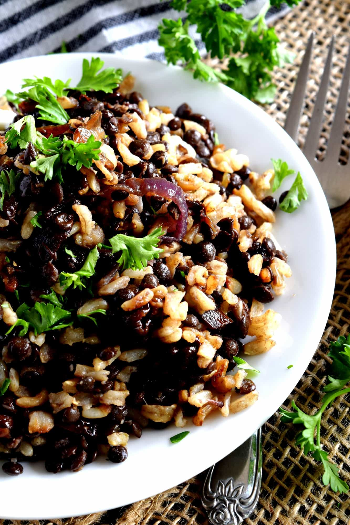 Mujadarra Black Lentils With Brown Rice And Caramelized Red Onions Lord Byron S Kitchen