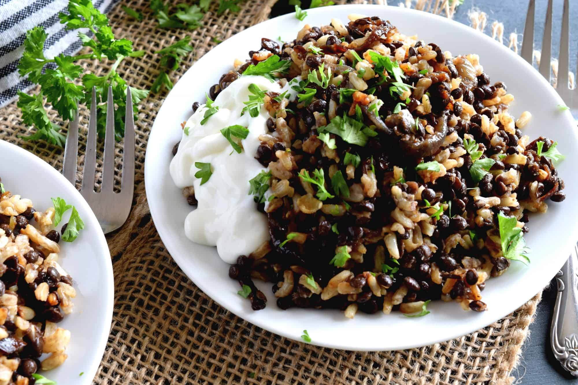 Mujadarra - Black Lentils with Brown Rice and Caramelized Red Onions - Lord Byron's Kitchen