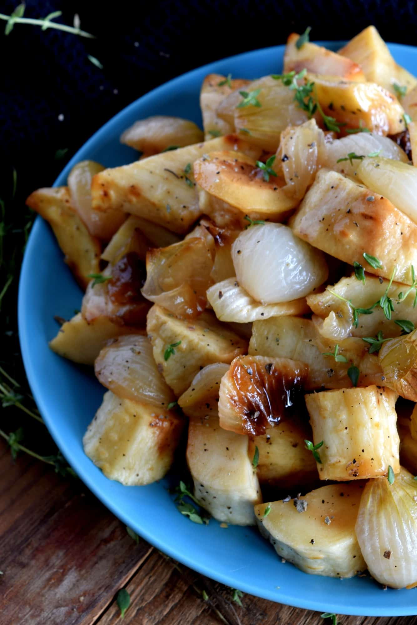 Roasted Parsnips And Pearl Onions With Thyme And Sage