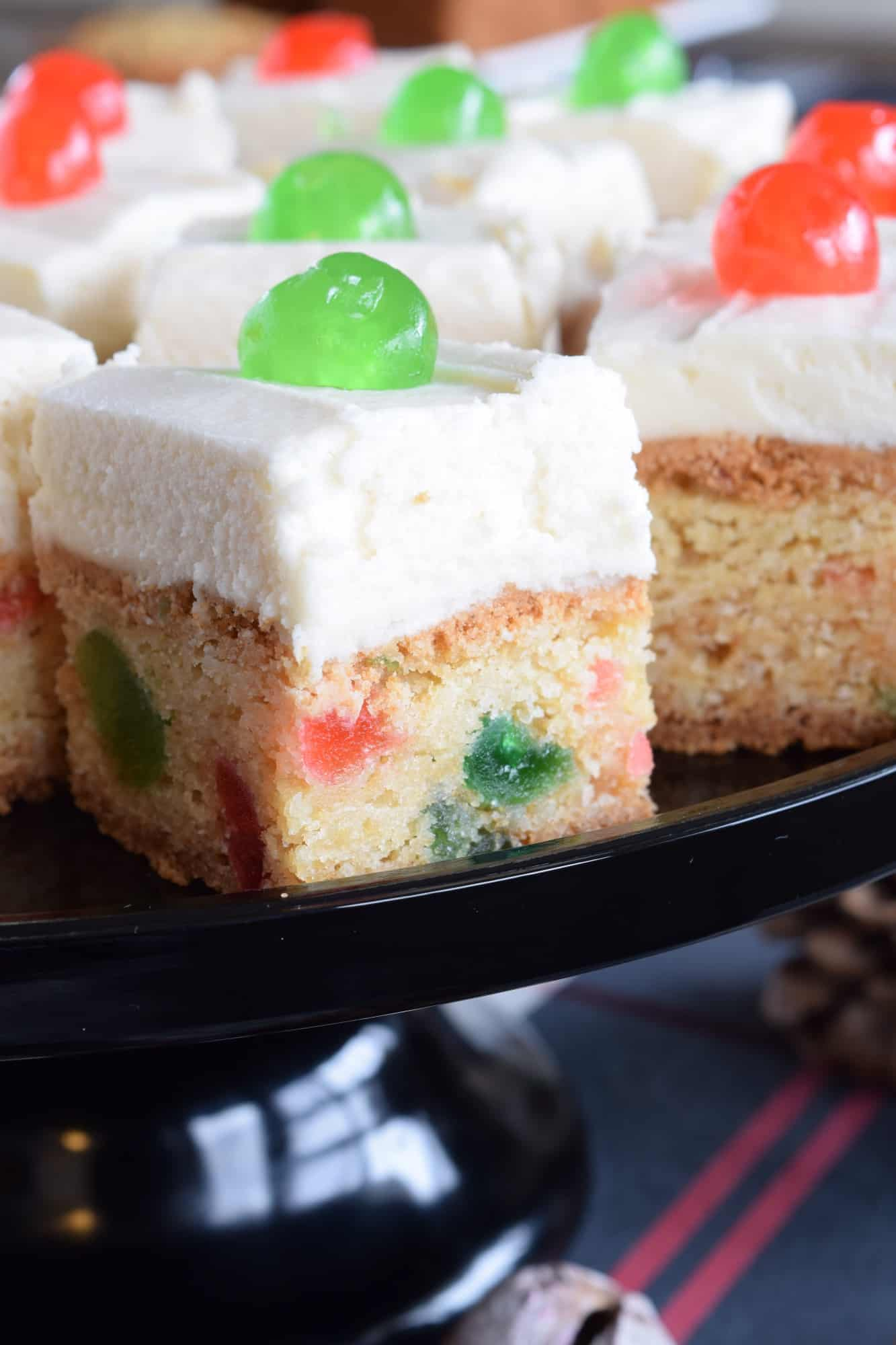 Cherry Cake Squares With Buttercream Frosting