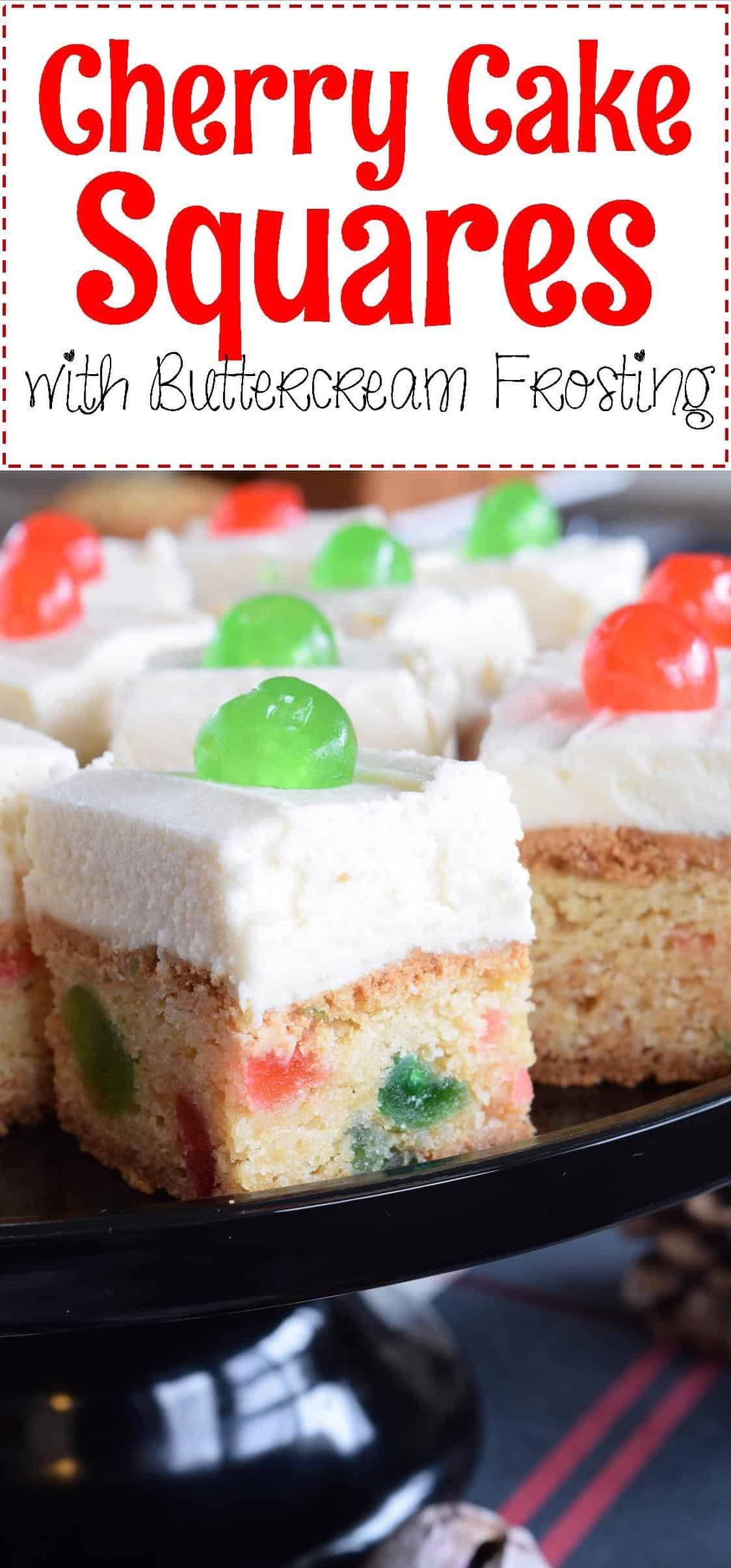 Cherry cake squares with buttercream frosting lord byrons kitchen a christmas treat thats perfect for sharing but so delicious youll want to keep them all for yourself solutioingenieria Choice Image