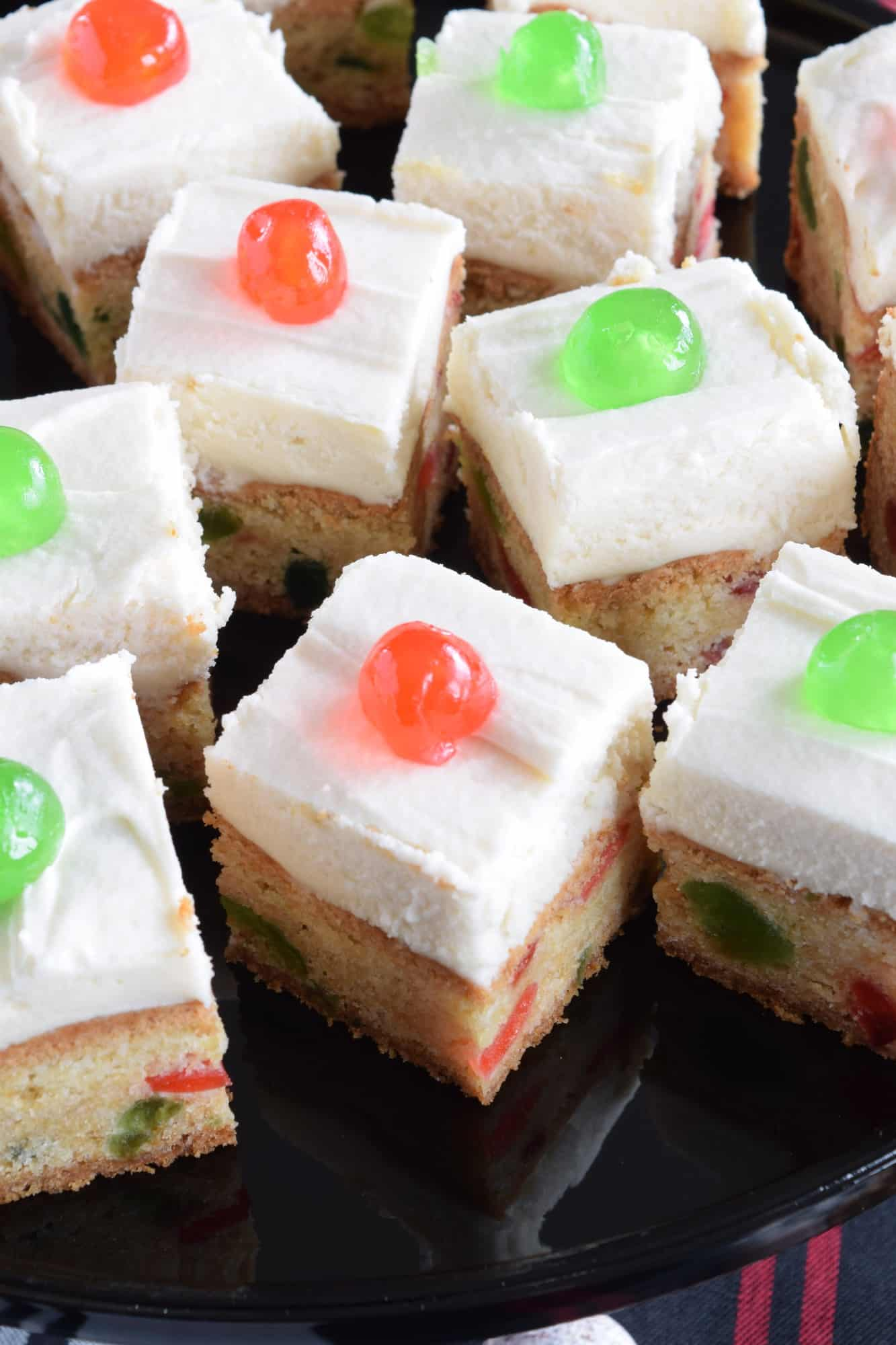 Cherry cake squares with buttercream frosting lord byrons kitchen usually i will start baking early around the second week of november so that i have at least two christmas themed recipes to post each week starting solutioingenieria Choice Image