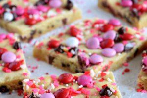 Be My Valentine M&M Chocolate Chip Sheet Pan Cookie