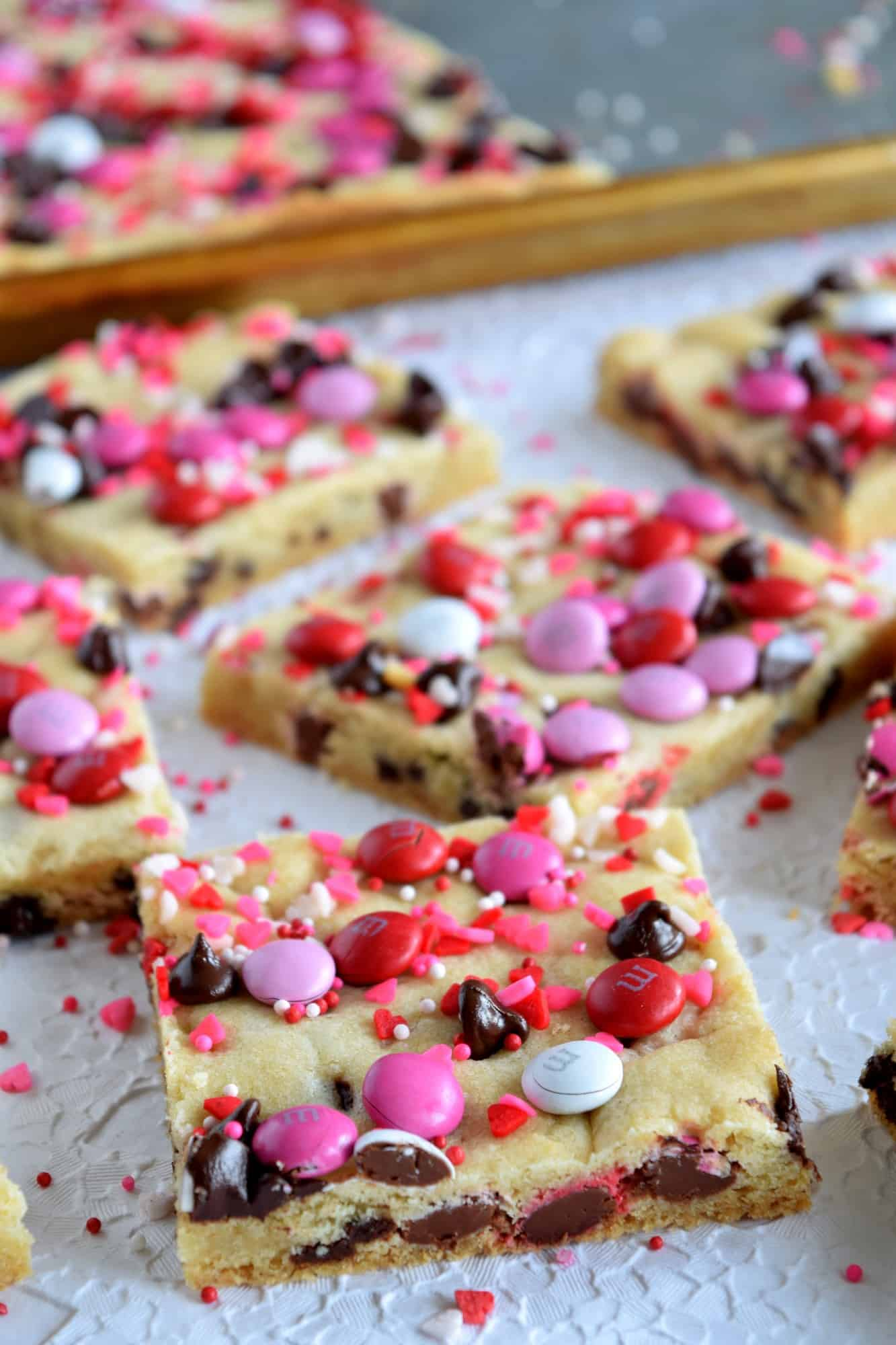 Be My Valentine Chocolate Chip M&M Sheet Pan Cookie