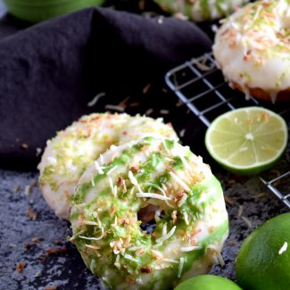Glazed Lime Donuts With Toasted Coconut