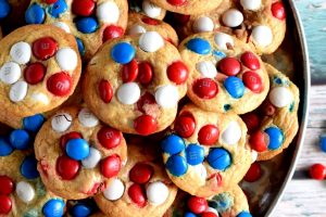 Patriotic M&M Blondies