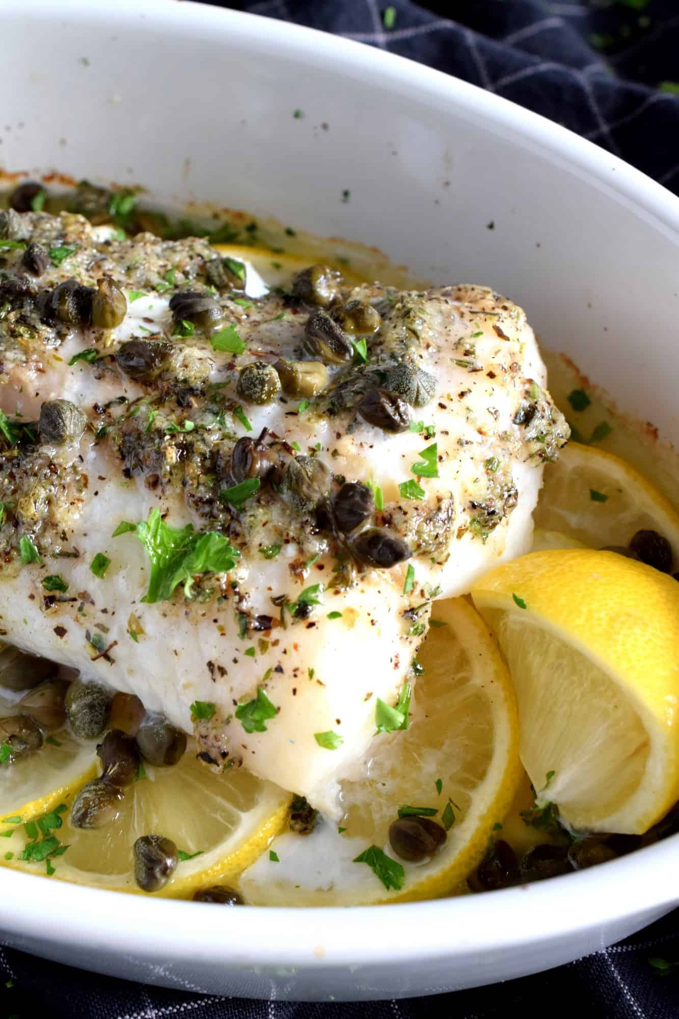 Baked Cod Fish With Lemon And Capers