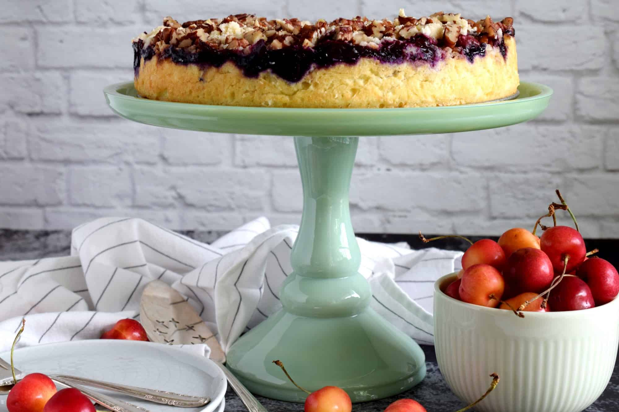 Cherry Cake with a Pecan Crumble Topping - Lord Byron's Kitchen