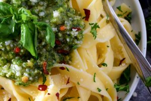Peppery Double Parmesan Basil Pesto