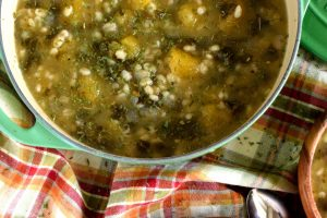 Squash And Kale Barley Soup