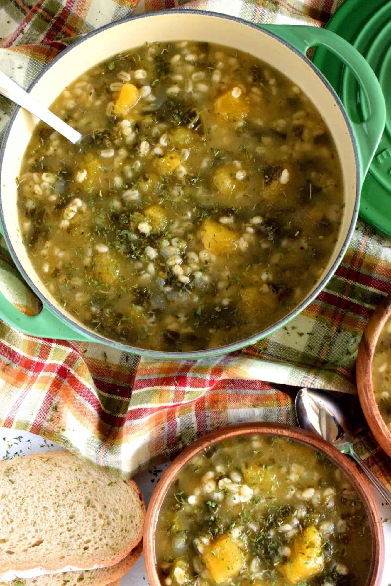 Squash And Kale Barley Soup