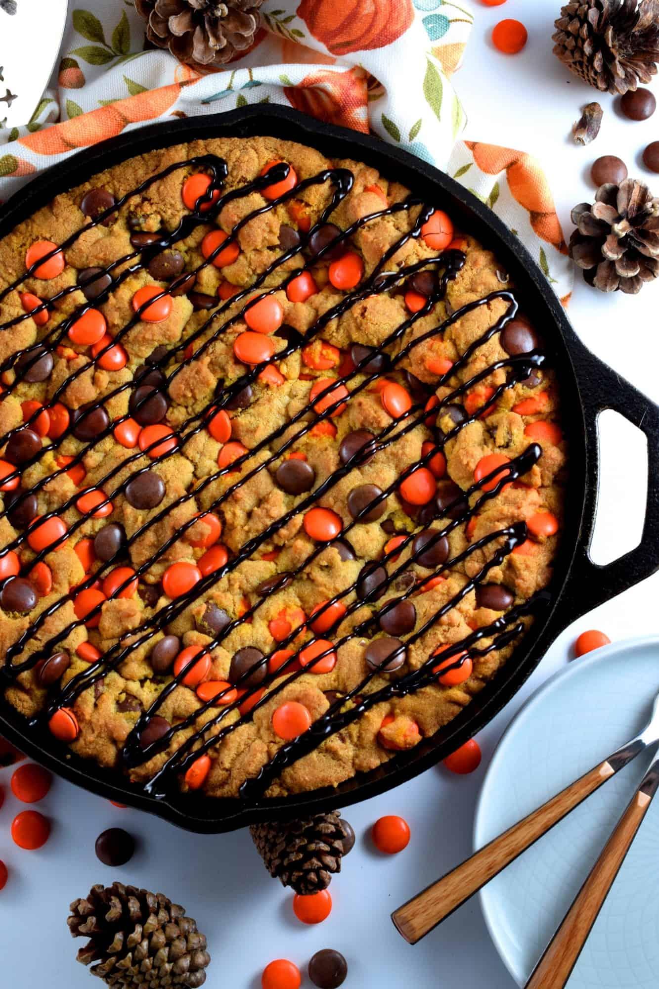 Halloween Chocolate Skillet Cookie