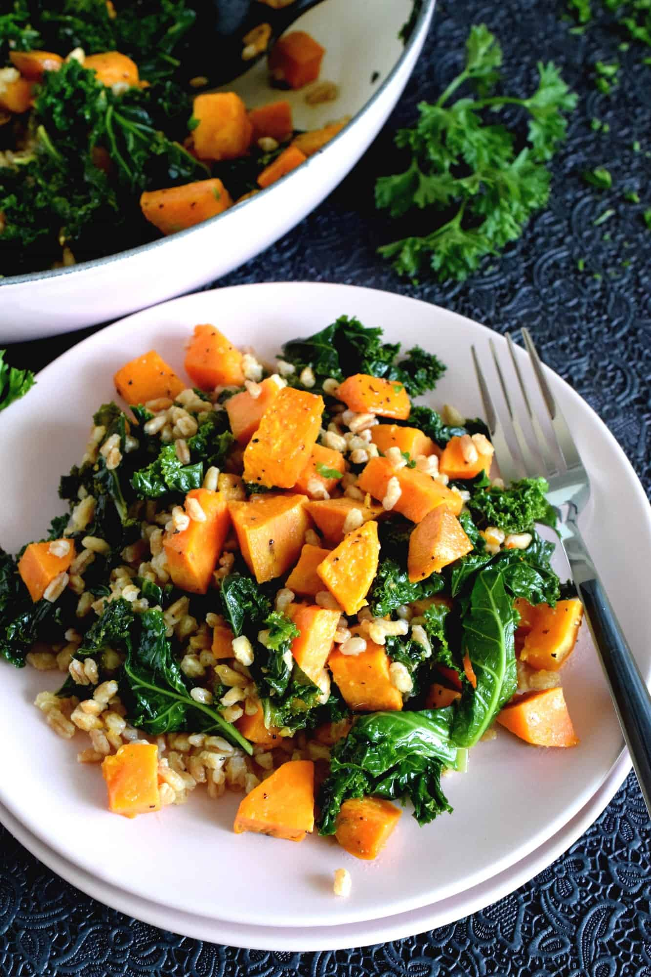 Kale And Sweet Potato Farro Salad