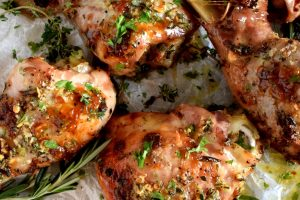Butter Basted Turkey Legs And Thighs With Fresh Herbs