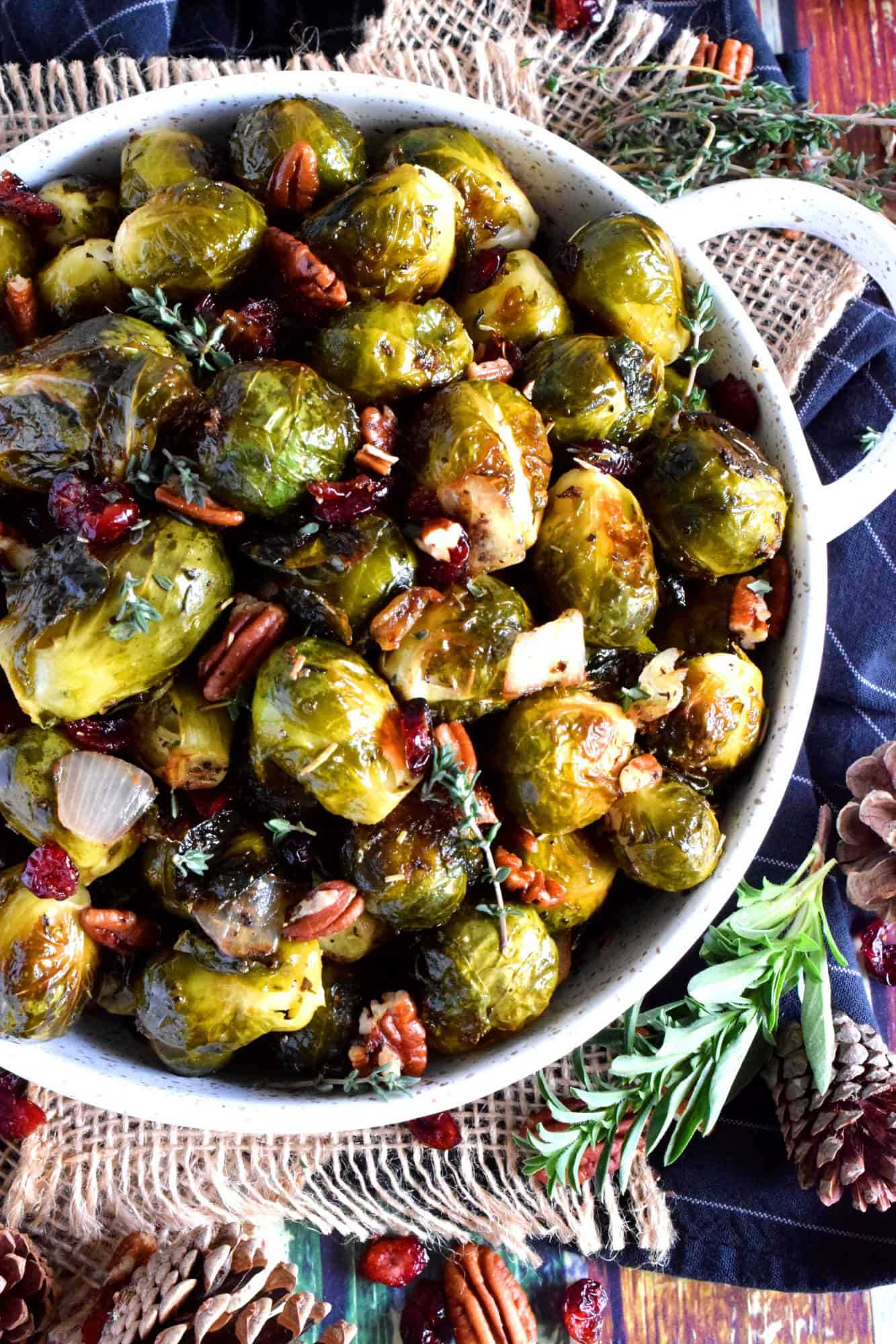 Whole Roasted Brussels Sprouts With Pecans And Cranberries