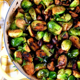 Pan Seared Brussels Sprouts And Mushrooms