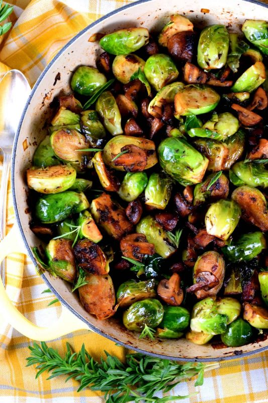 Pan Seared Brussels Sprouts and Mushrooms - Lord Byron's Kitchen
