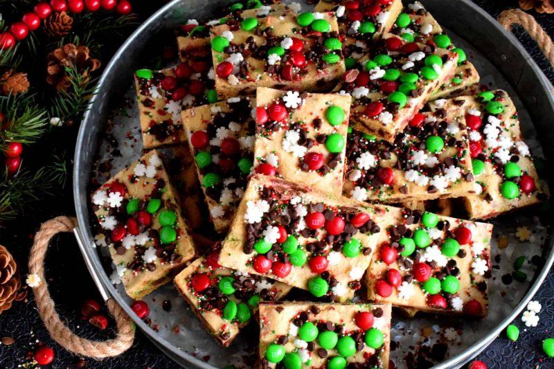Sheet Pan M&M Chocolate Holiday Bars