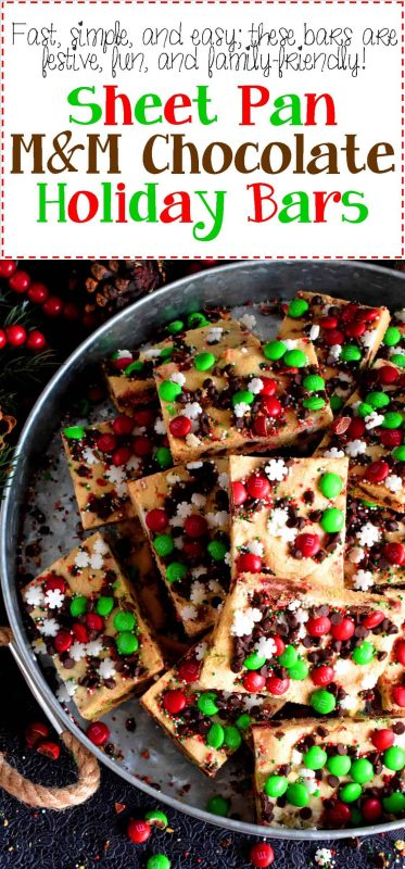 Sheet Pan M&M Chocolate Holiday Bars