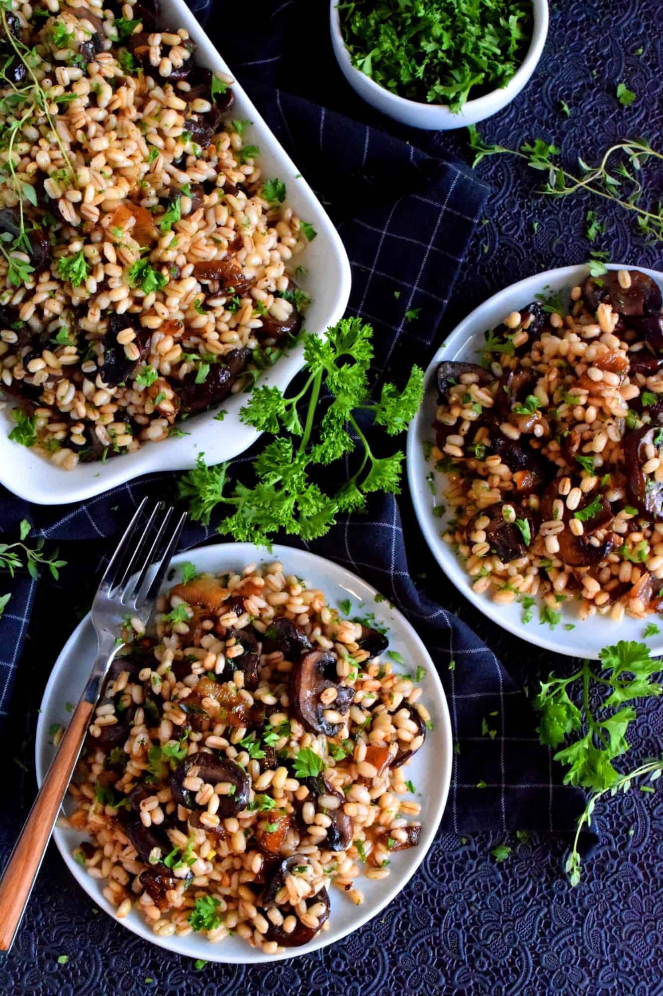Warm Barley Salad With Buttered Mushrooms And Shallots