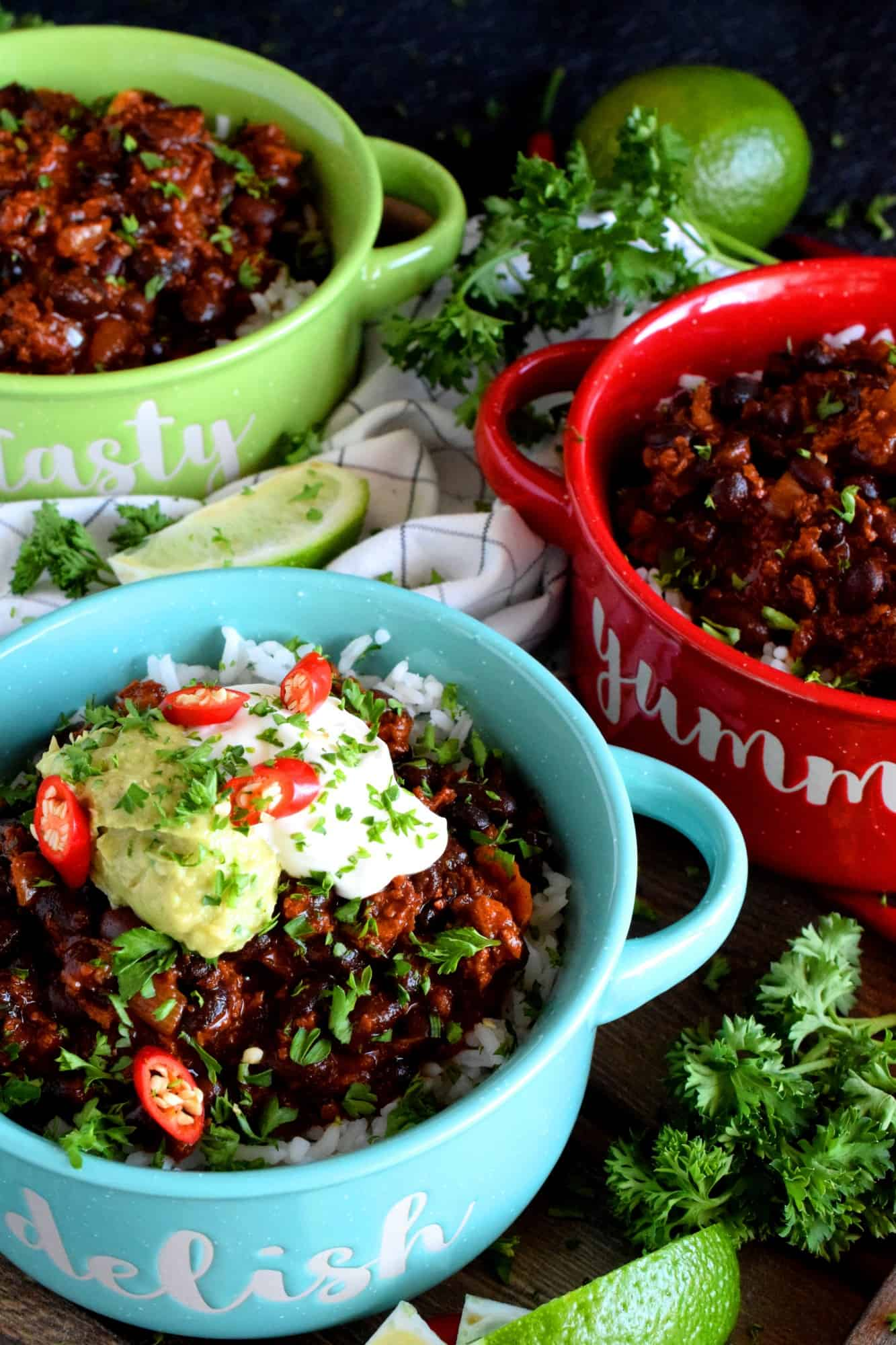 Chorizo And Black Bean Chili Bowls