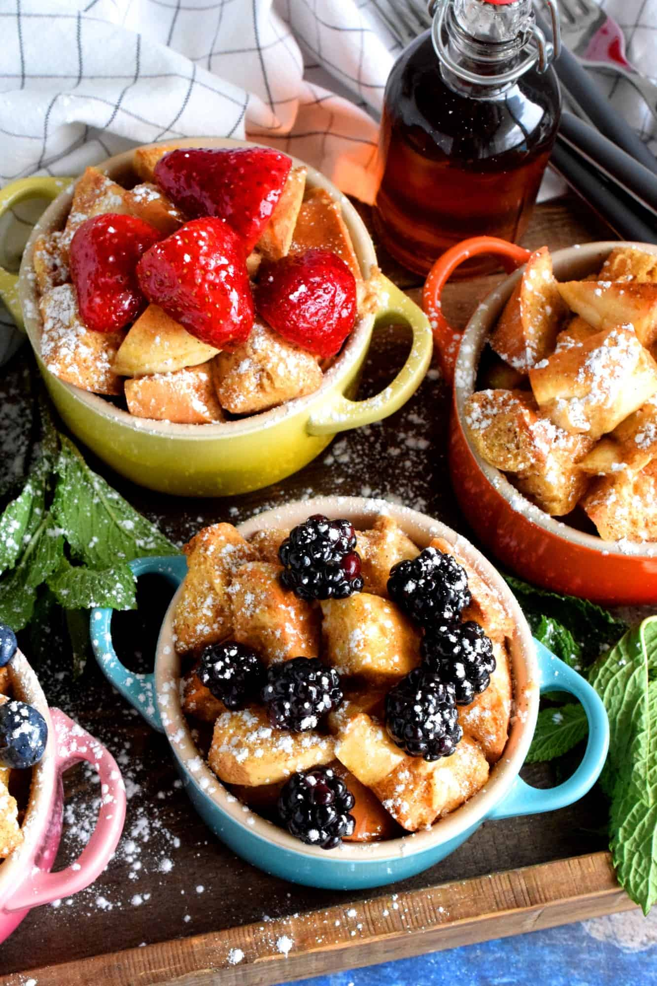 Individual Baked Bagel French Toast Pots