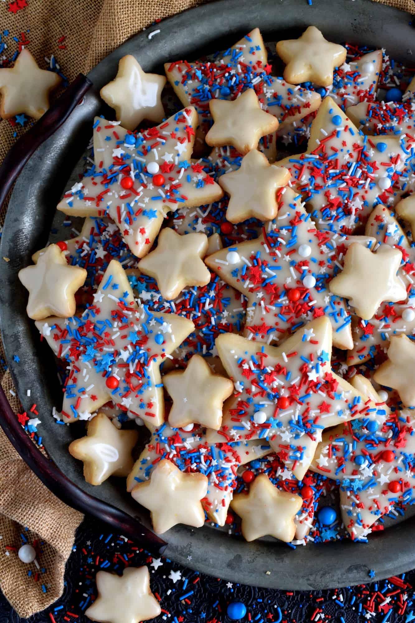 Patriotic Glazed Shortbread Cookies