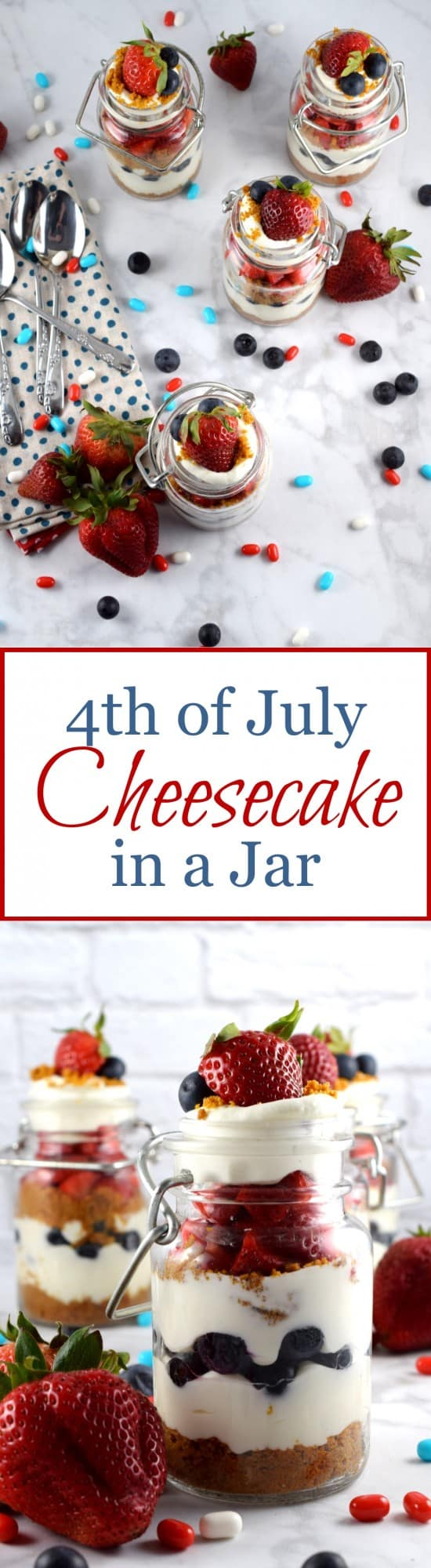4th of July Cheesecake in a Jar